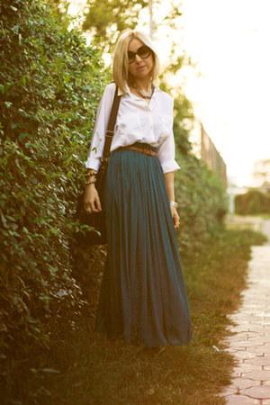 teal Zara skirt - white new look blouse