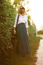 teal Zara skirt - white new look blouse