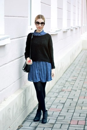 blue Zara dress - black H&M boots - black H&M sweater - black Mango bag