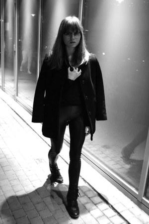 black New Yorker boots - black JCrew coat - black Calzedonia leggings