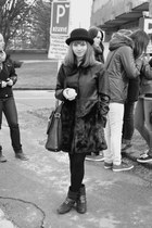 black Funky Shoes boots - black New Yorker coat - black Gate hat