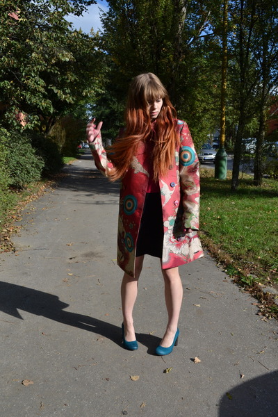 bubble gum desigual coat - black New Yorker dress - sky blue Funky Shoes heels