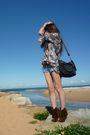 Gray-random-blouse-blue-supre-shorts-brown-vintage-shoes-black-coach-bag