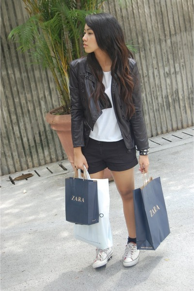 black balmain inspired jacket - white own design top - black supree shorts - whi