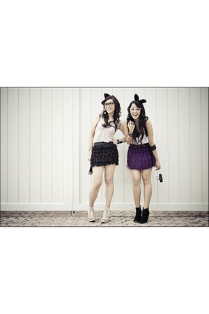 black skirt - purple skirt - black