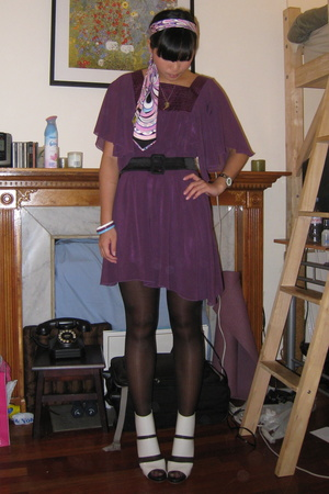 purple pucci tie - gray Chloe shoes - purple no brand dress - black tights