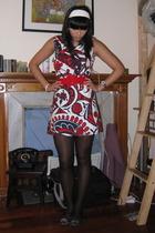 red Mango belt - blue flats sam edelman shoes - red vintage 2nd hand dress
