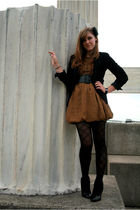 black Jcpenny blazer - brown twelve by twelve dress - black payless shoes - Fore