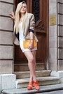 White-lace-h-m-dress-beige-zara-blazer-light-orange-leather-bag-louis-vuitto