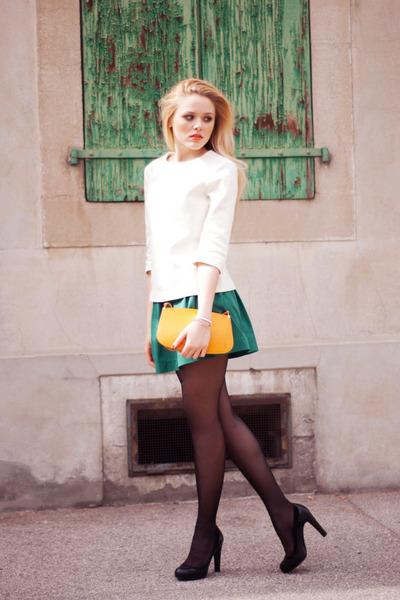 orange Louis Vuitton bag - teal Zara skirt - ivory Zara top - black Bally heels