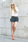 Black-polka-dots-h-m-shorts-tawny-mango-sunglasses-brown-zara-belt-white-z