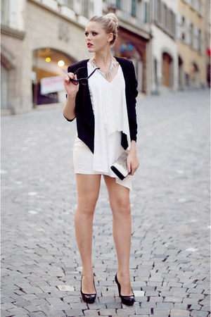 white About Eloise dress - black H&amp;M blazer - ivory vintage bag