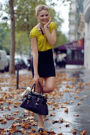 Zara shirt - Louis Vuitton bag - H&amp;M skirt - Miu Miu heels