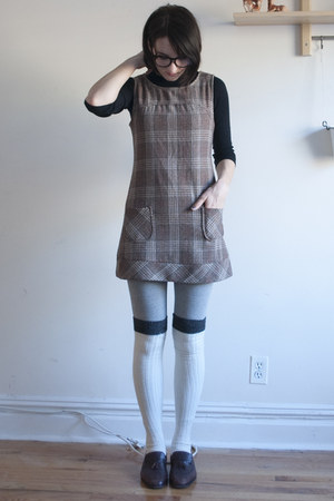 vintage dress - Joe Fresh sweater - asos stockings
