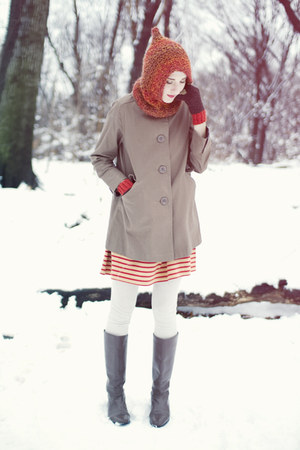 thrifted boots - thrifted dress - thrifted coat - Etsy hat - People Tree gloves