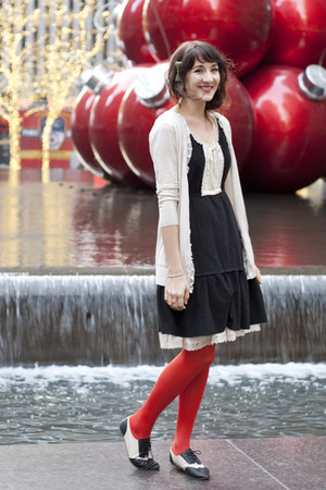 black dress vintage dress - red H&amp;M tights - ivory Mystery cardigan