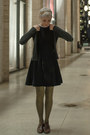 Vintage-dress-asos-tights-jcrew-cardigan