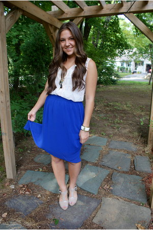 blue chiffon hi-low Forever 21 skirt - ivory buckle Candies heels