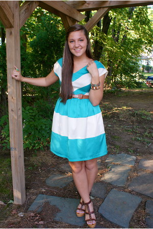 striped Francescas Collection dress - InPink bracelet - kohls wedges