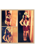 red dress - eggshell hat - nude heels - white blouse
