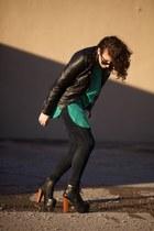 lita boots Jeffrey Campbell boots - moto Buffalo jacket - Vtg shirt