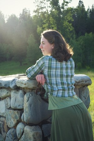 green plaid St Johns Bay blouse - Kellie Falconer skirt