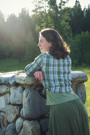 green plaid St Johns Bay blouse - Kellie Falconer skirt