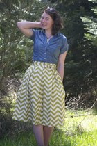pleated chevron Kellie Falconer skirt - thrifted sunglasses