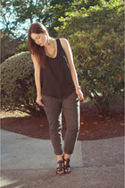 black silk tank Old Navy top - gray cargo trouser Ann Taylor Loft pants