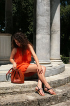 silk Class fashion Italy dress - leather Hermès Marketbag bag