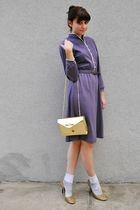 gold Enzo Angiolini shoes - white socks - purple vintage dress - gold vintage pu