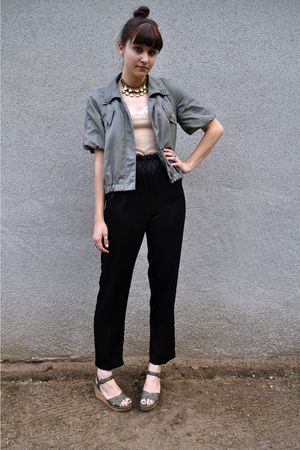 beige BDG blouse - black vintage pants - green DKNY jacket - green Nine West sho