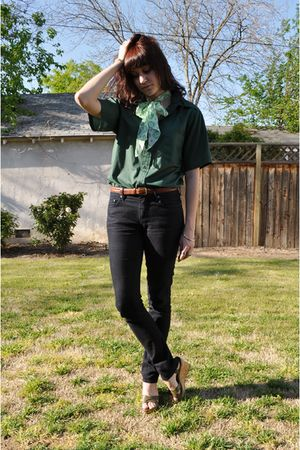 green vintage shirt - brown thrifted belt - BDG jeans - green  scarf - green Nin