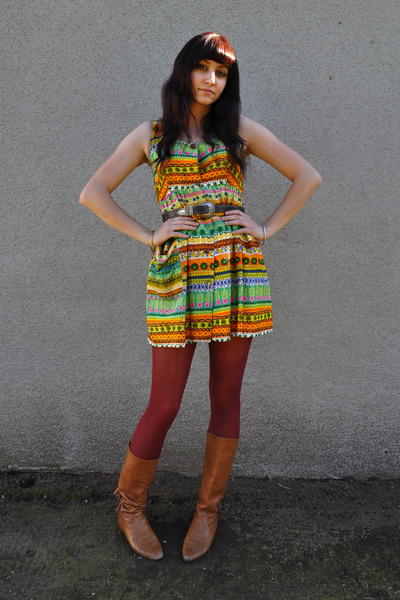 red Urban Outfitters tights - brown vintage boots - vintage dress - brown thrift