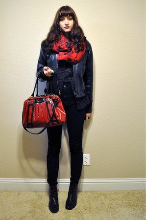 red Vans bag - crimson faux snakeskin Kimchi Blue boots