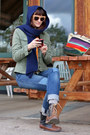 Brown-moc-boots-patches-levis-jeans-olive-green-jacket-navy-scarf