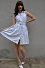 White-vintage-shoes-blue-vintage-dress-blue-vintage-belt-red