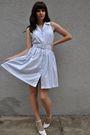 White-vintage-shoes-blue-vintage-dress-blue-vintage-belt-red
