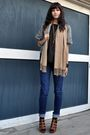 Black-vintage-blouse-green-dkny-jacket-bdg-jeans-beige-gap-scarf-black-s