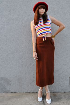 brown maxi vintage skirt - white woven vintage shoes - red thrifted hat