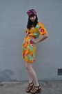 Orange-vintage-dress-pink-thrifted-scarf-brown-cynthia-vincent-for-target-sh