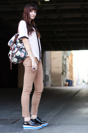 bag - chanel-esque vintage blouse - BDG pants - sneakers