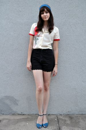 blue scarf - beige vintage blouse - black vintage shorts - blue shoes