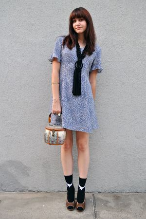 blue thrifted dress - black H&amp;M necklace - black Urban Outfitters socks - brown 