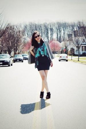 silver H&M blazer - aquamarine Dexter Wong top - teal Forever 21 skirt
