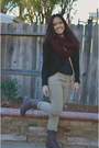 Cablee-steve-madden-boots-khaki-jeans-blazer-infinity-homemade-scarf