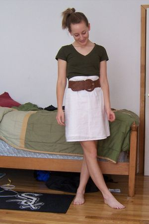 green Forever21 shirt - brown belt - white skirt