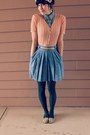 Sky-blue-pleated-denim-thrifted-skirt-peach-thrifted-sweater