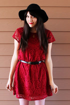 ruby red lace Target dress - black leather thrifted boots - black felt H&M hat