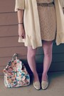 Salmon-floral-target-bag-cream-lace-h-m-dress-cream-thrifted-sweater